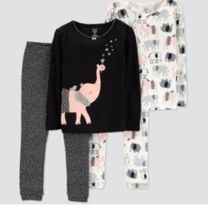 CARTERS NEW Elephant Pajama Set Black Just one You